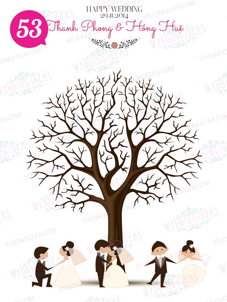 wedding tree, tranh in dấu vân tay, ý tưởng cưới, tranh in van tay, tranh in dau van tay